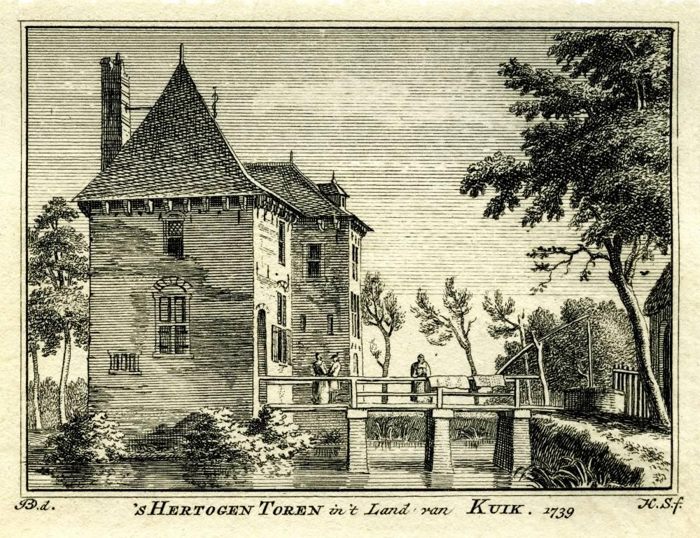`s Hertogen Toren in Vierlingsbeek. Tekening Jan de Beijer, gravure Hendrik Spilman(Uit: Het Verheerlykt Nederland, Isaac Tirion, 1745/1774)